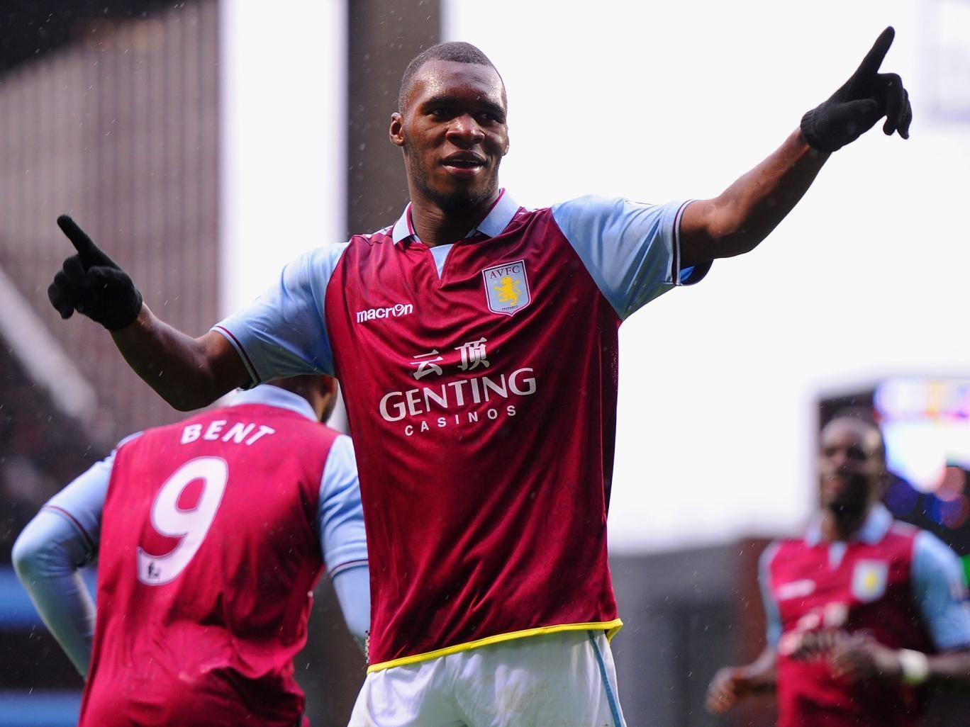 Benteke celebrates his goal for Aston Villa
