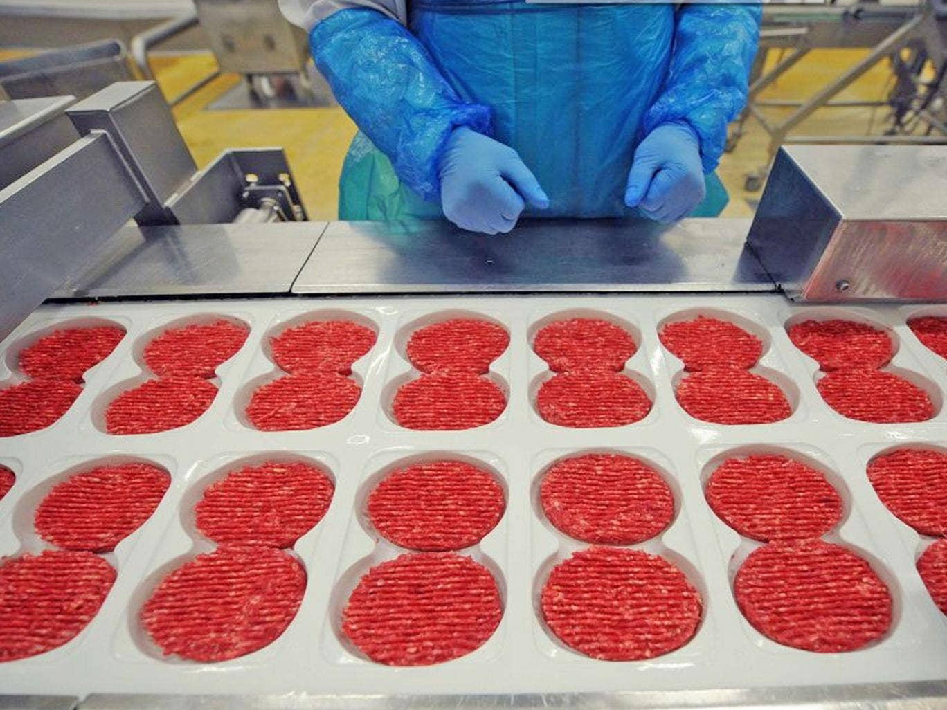 French meat food industrial factory, working on the production chain of beef steaks. A Europe-wide food fraud scandal over horsemeat sold as beef deepened as Romania announced an inquiry into the origin of the meat and suspicions of criminal activity moun