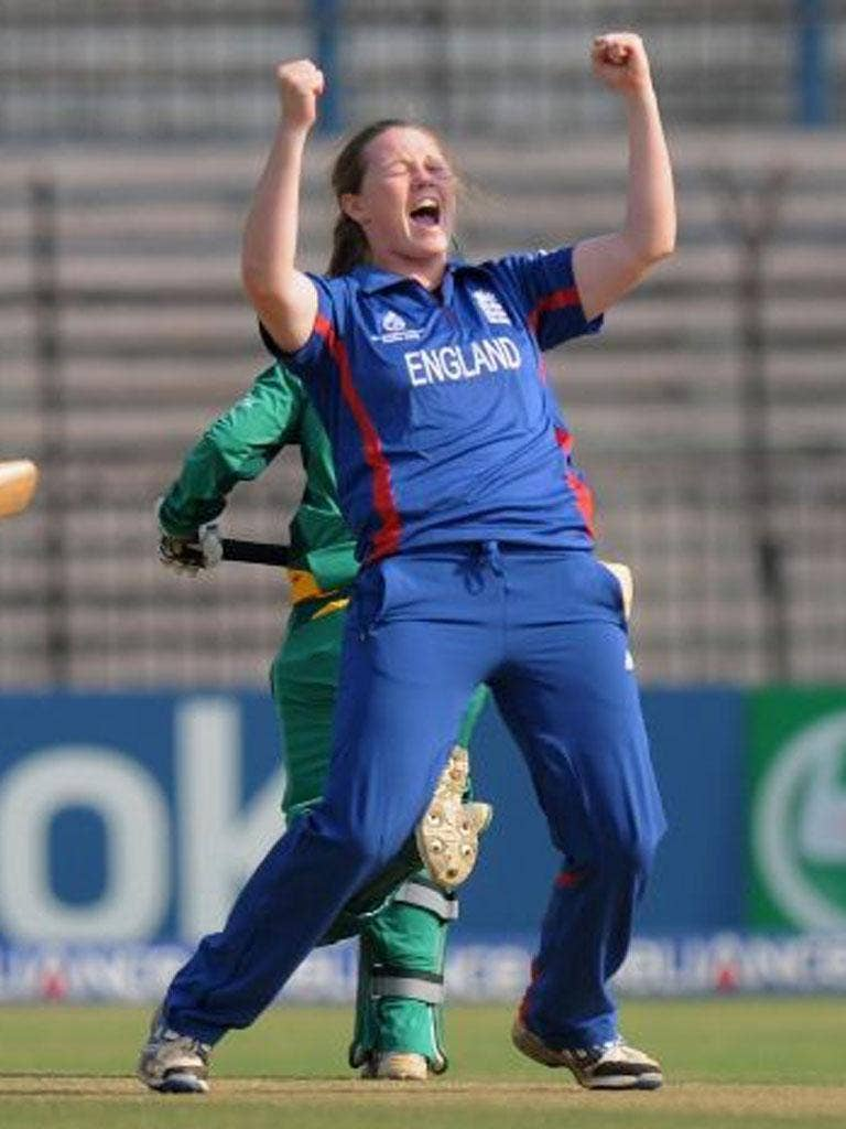 Anya Shrubsole celebrates one of her wickets against South Africa