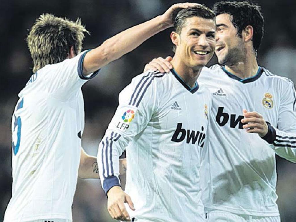 Cristiano Ronaldo celebrates scoring against Sevilla on Saturday