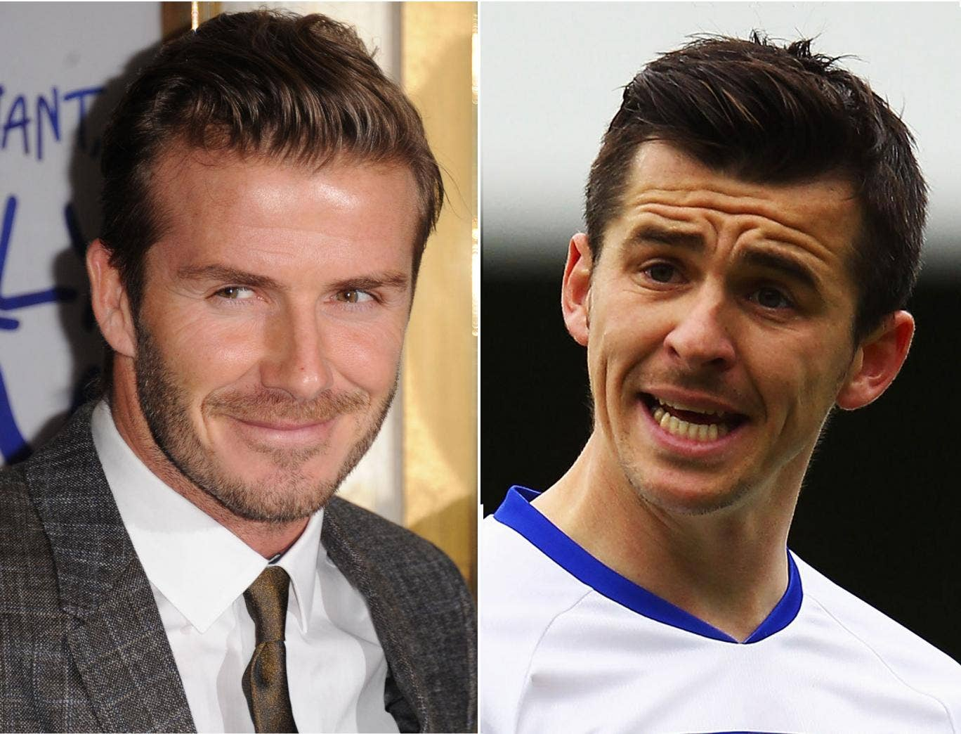 David Beckham (left) might make his Paris St Germain debut against a Marseille side including fellow Englishman Joey Barton (right)