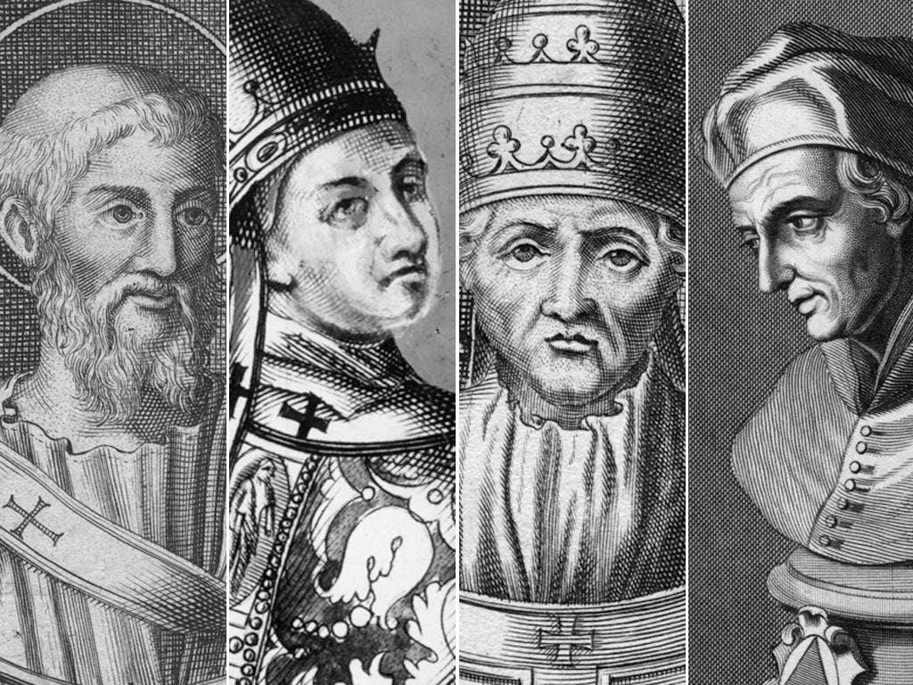 The other four Popes who resigned: Marcellinus (left), Benedict IX, Celestine V and Gregory XII