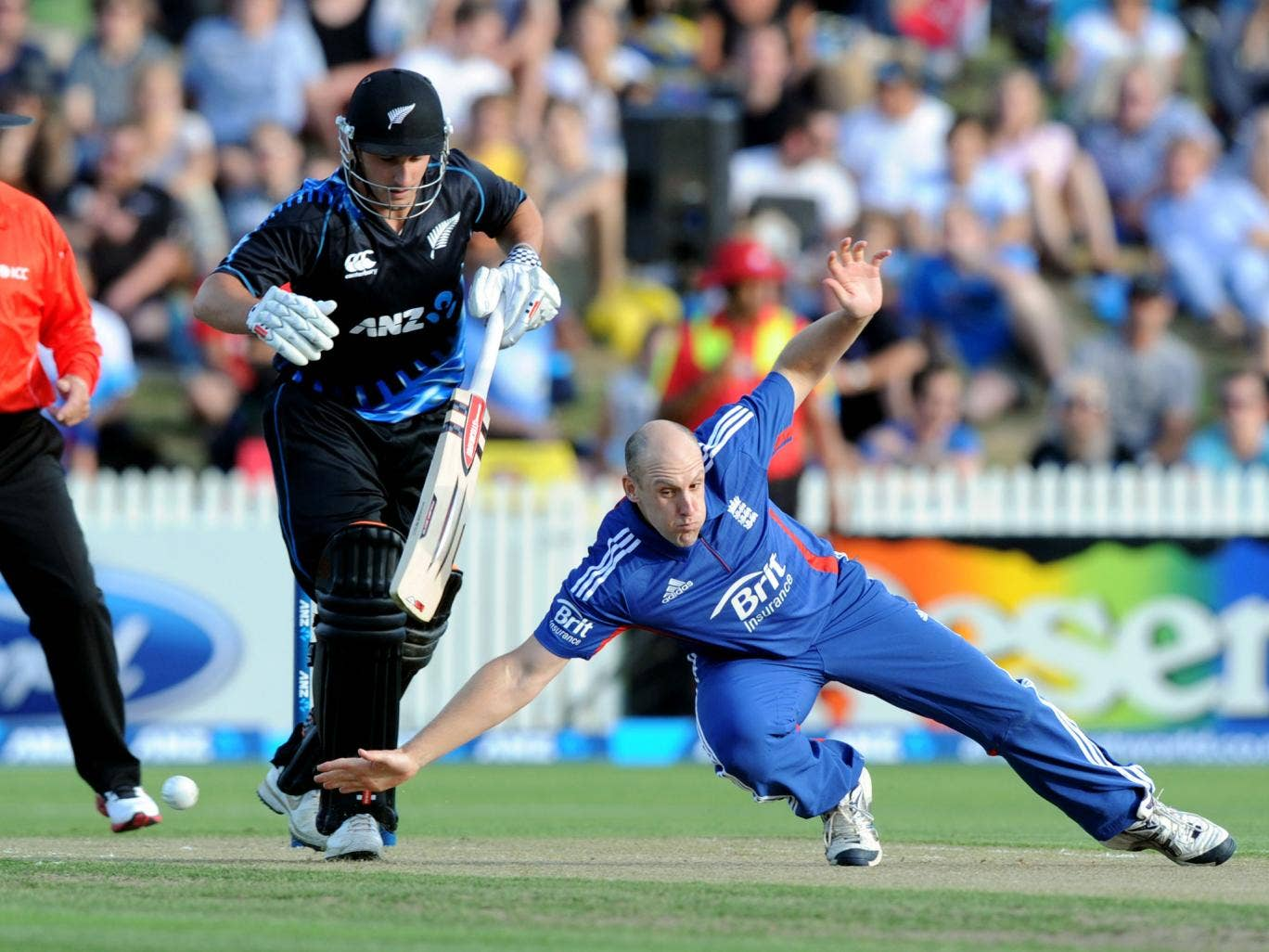 England's James Tredwell dives in front of New Zealand's Hamish Rutherfored