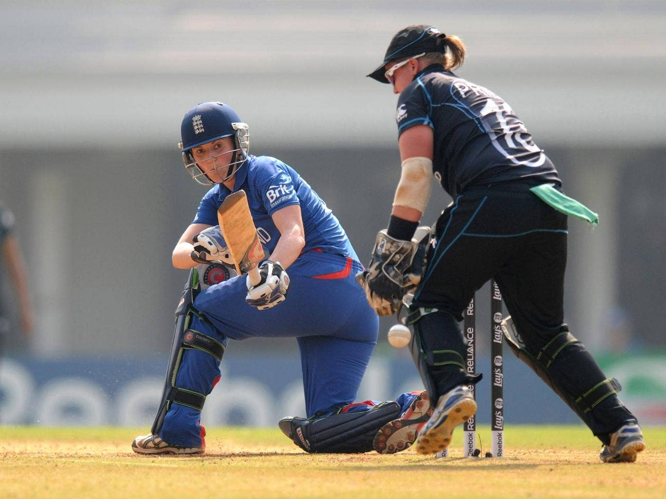 England captain Charlotte Edwards in action against New Zealand at the World Cup