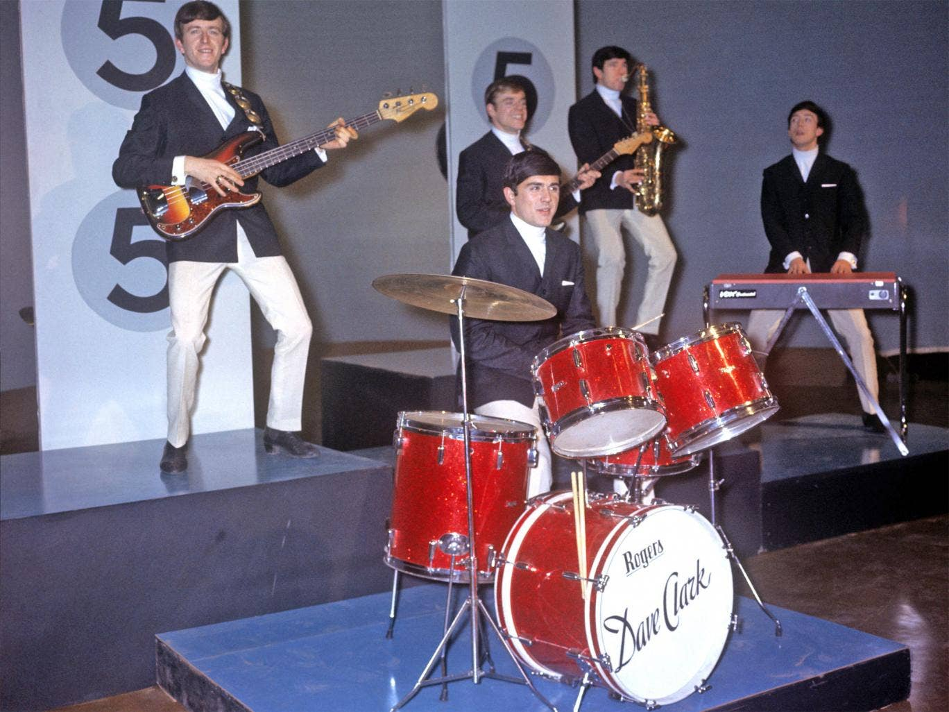 Huxley, left, with the Dave Clark Five in January 1964; within two months they were on 'Ed Sullivan'