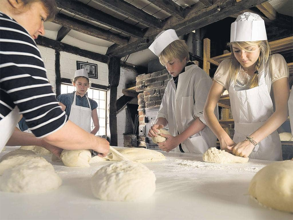 Pupils at the Bedales school bakery