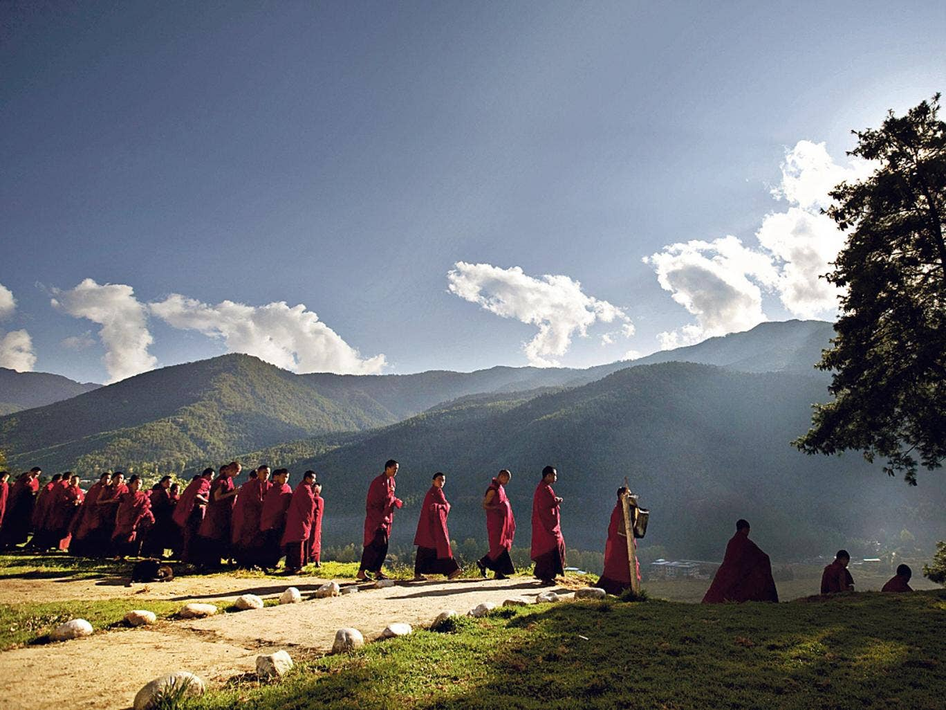 Walk on by: Buddhist monks on their way to a monastery in Bhutan