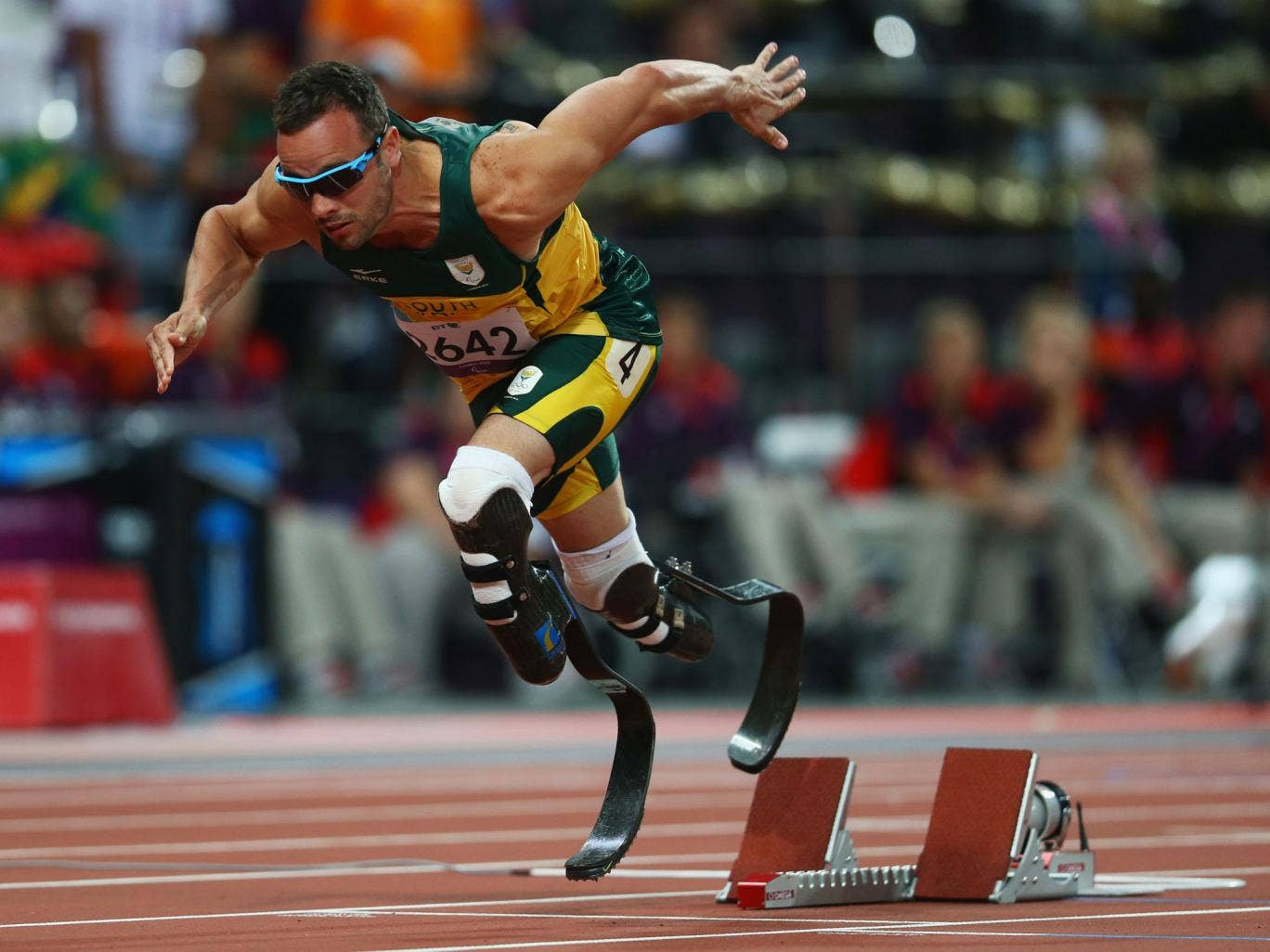 Oscar Pistorius launches out of the blocks during last year's Paralympics