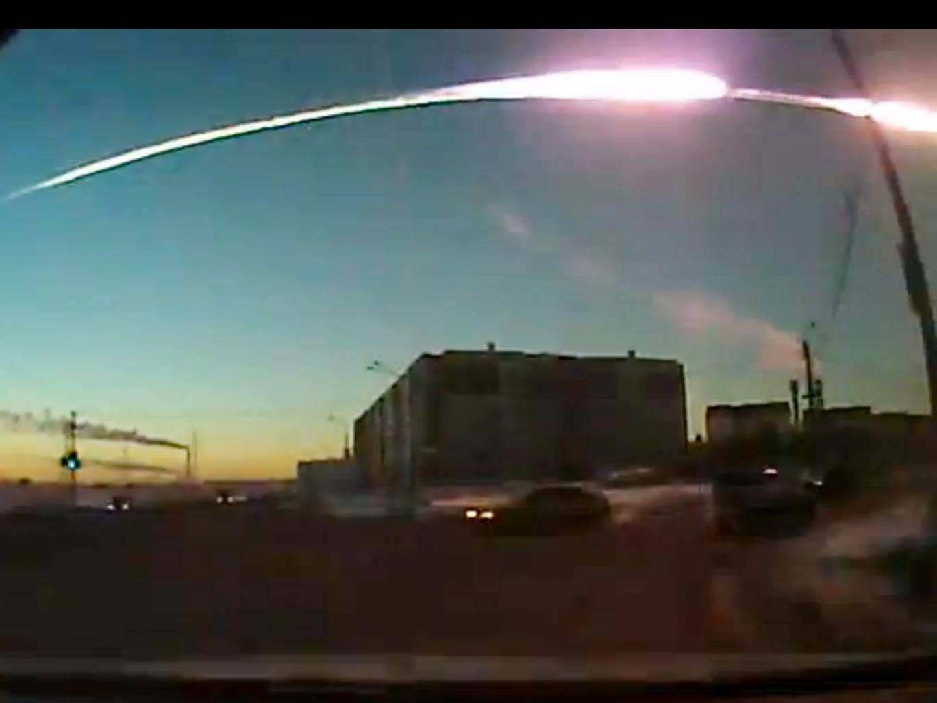 The view from a windscreen camera as the meteor streaked over the Urals