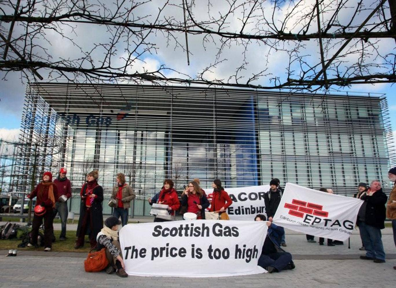 Demonstrators against rising energy bills make their point outside Scottish Gas HQ in Edinburgh yesterday