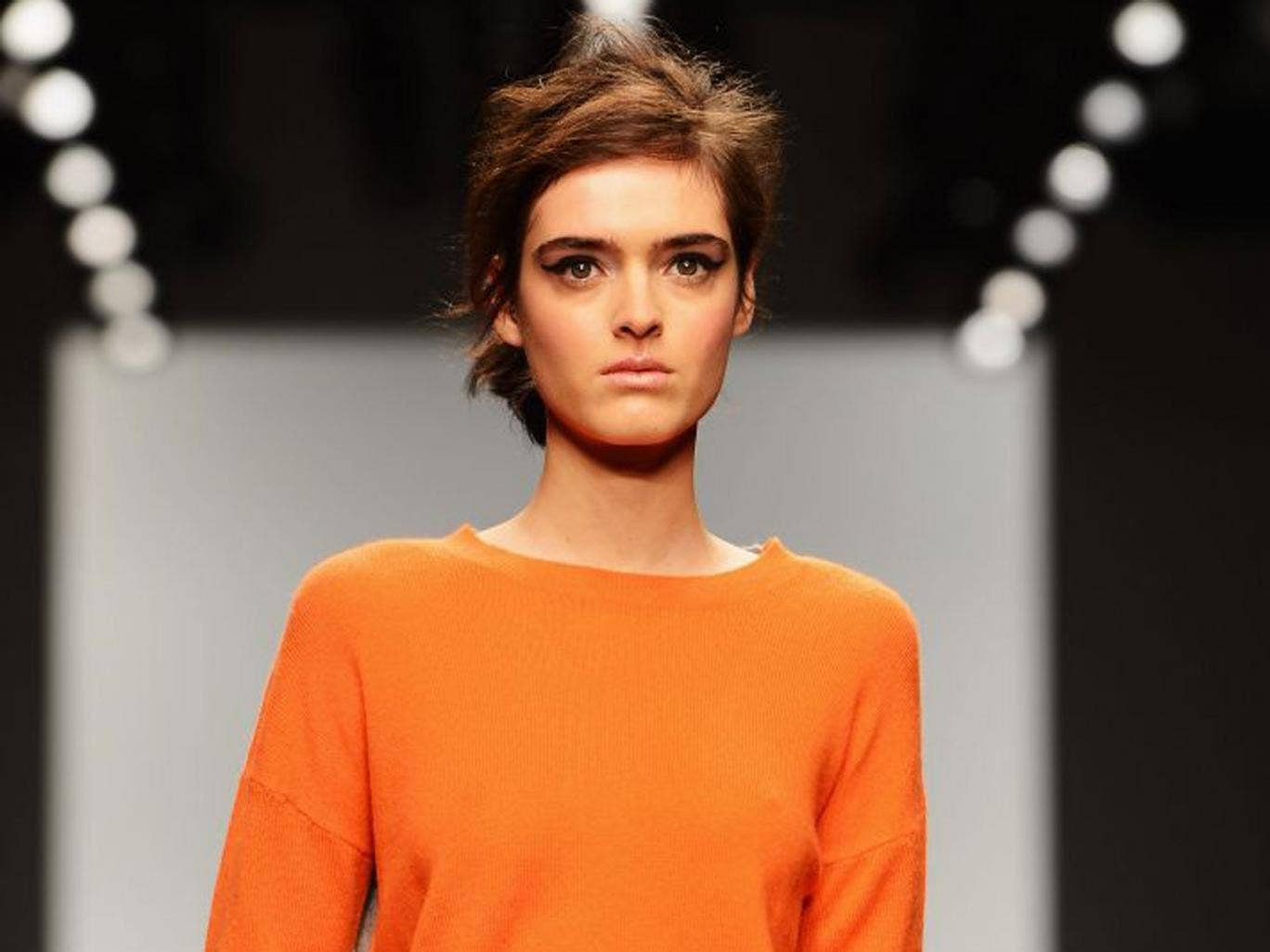 A model at  Zoe Jordan's show, which was the first at this year's London Fashion Week