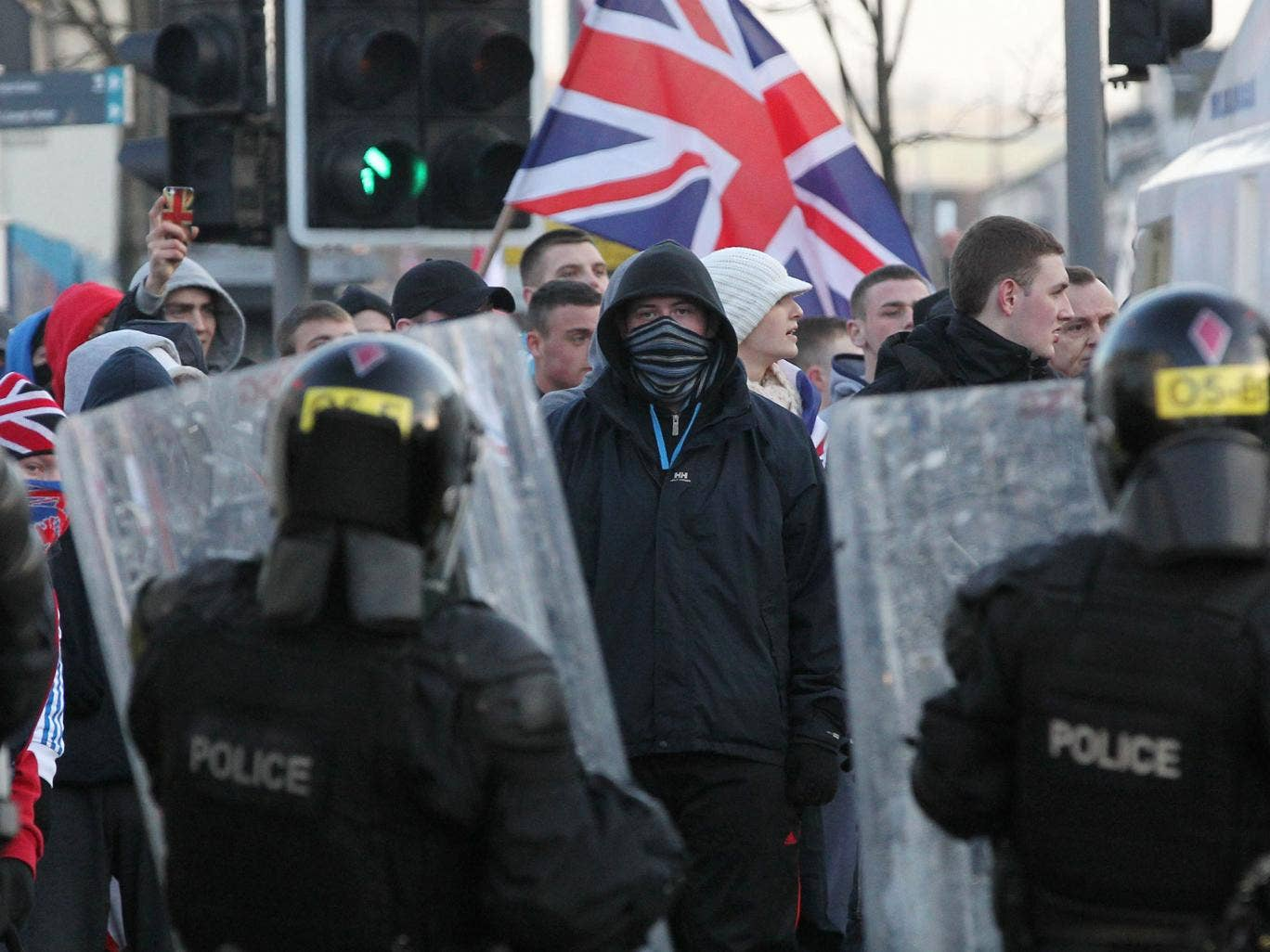 Loyalist protesters with Union flags in East Belfast in January 2012