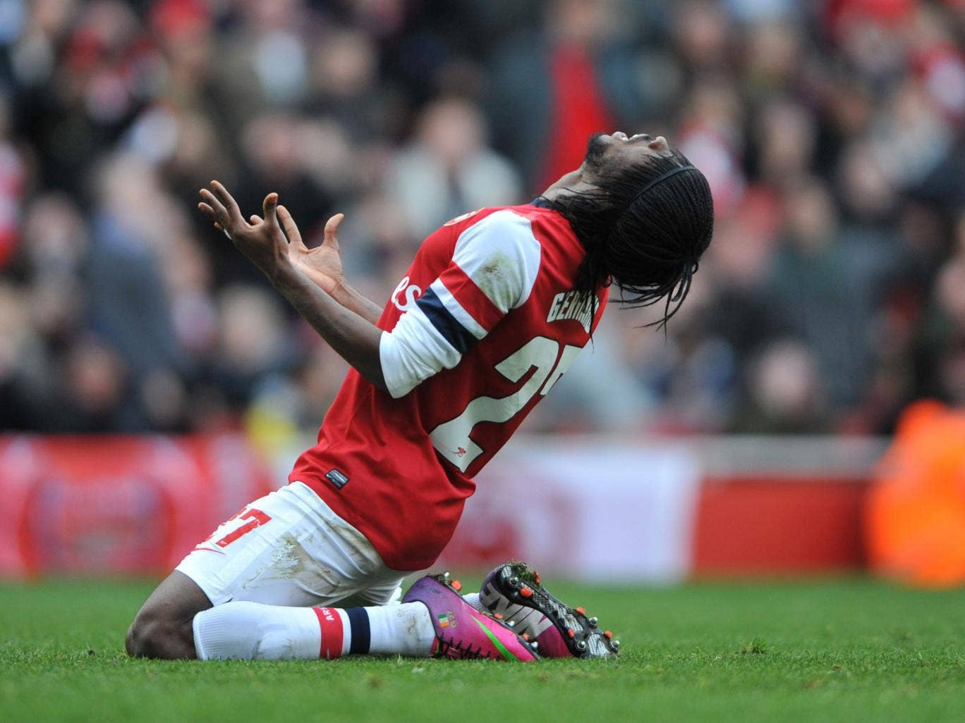 <b>Arsenal 0-1 Blackburn</b><br/>Rover and out: Gervinho shows his frustration after missing a glorious chance for Arsenal during their surprise 1-0 FA Cup fifth-round defeat against Blackburn Rovers at Emirates Stadium yesterday