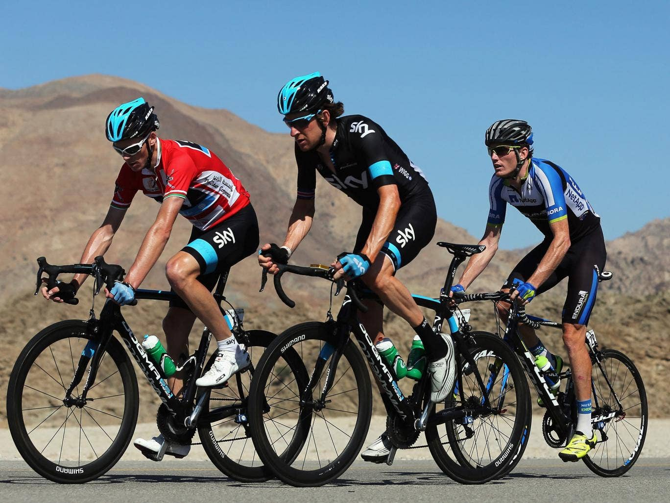 Sky riding high: Wiggins trails race winner Froome, who heads the pack