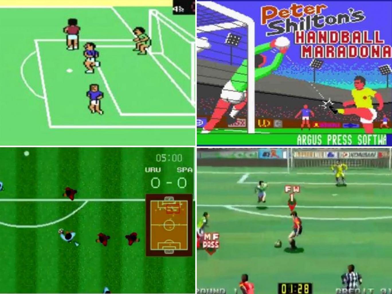 Clockwise from top left: International Soccer, 1983; Handball Maradona, 1986; VersusNet Soccer, 1996; Sega Soccer, 1990