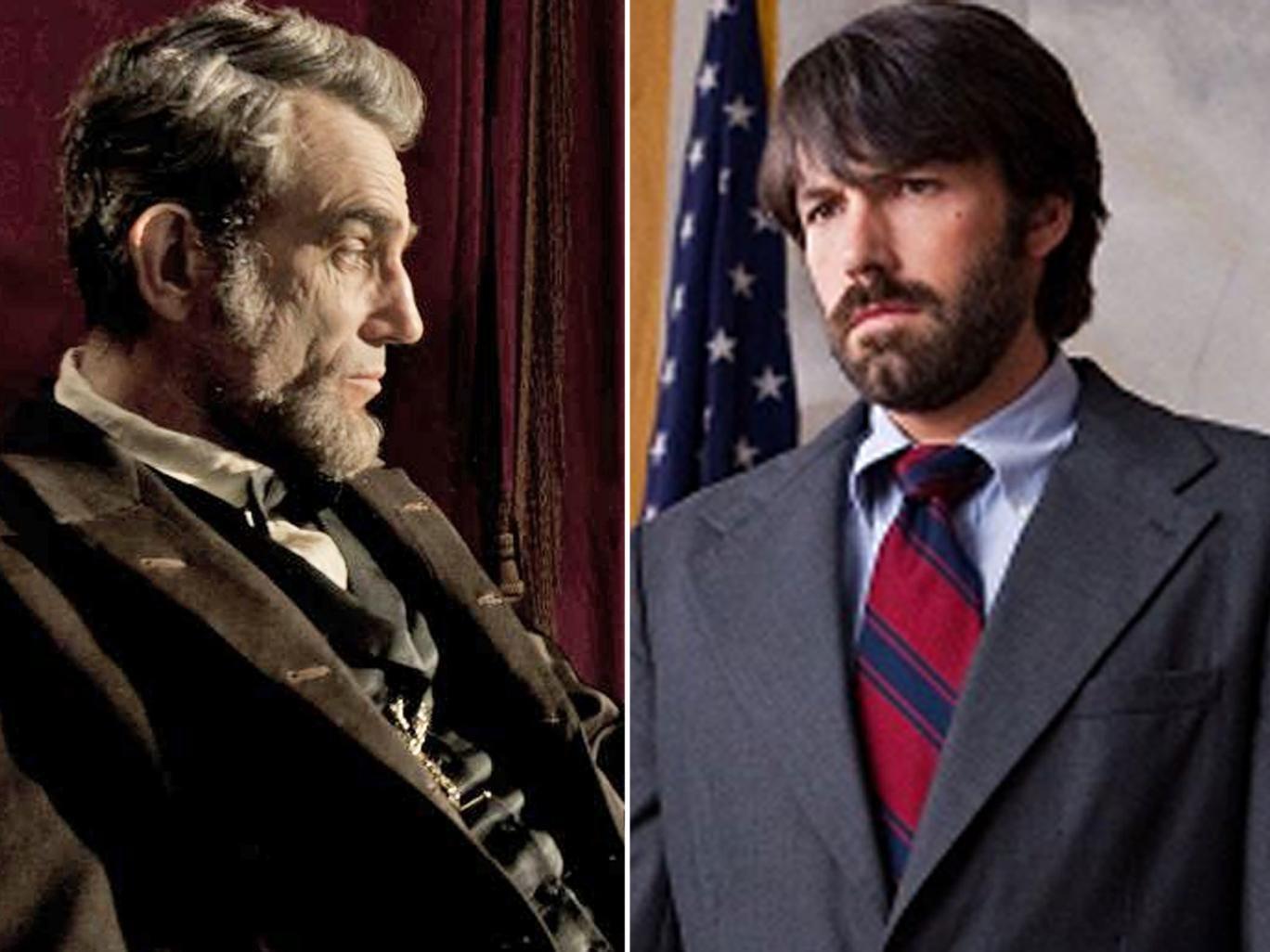 Oscar hopefuls: Daniel Day- Lewis in 'Lincoln', left, and Ben Affleck in 'Argo'