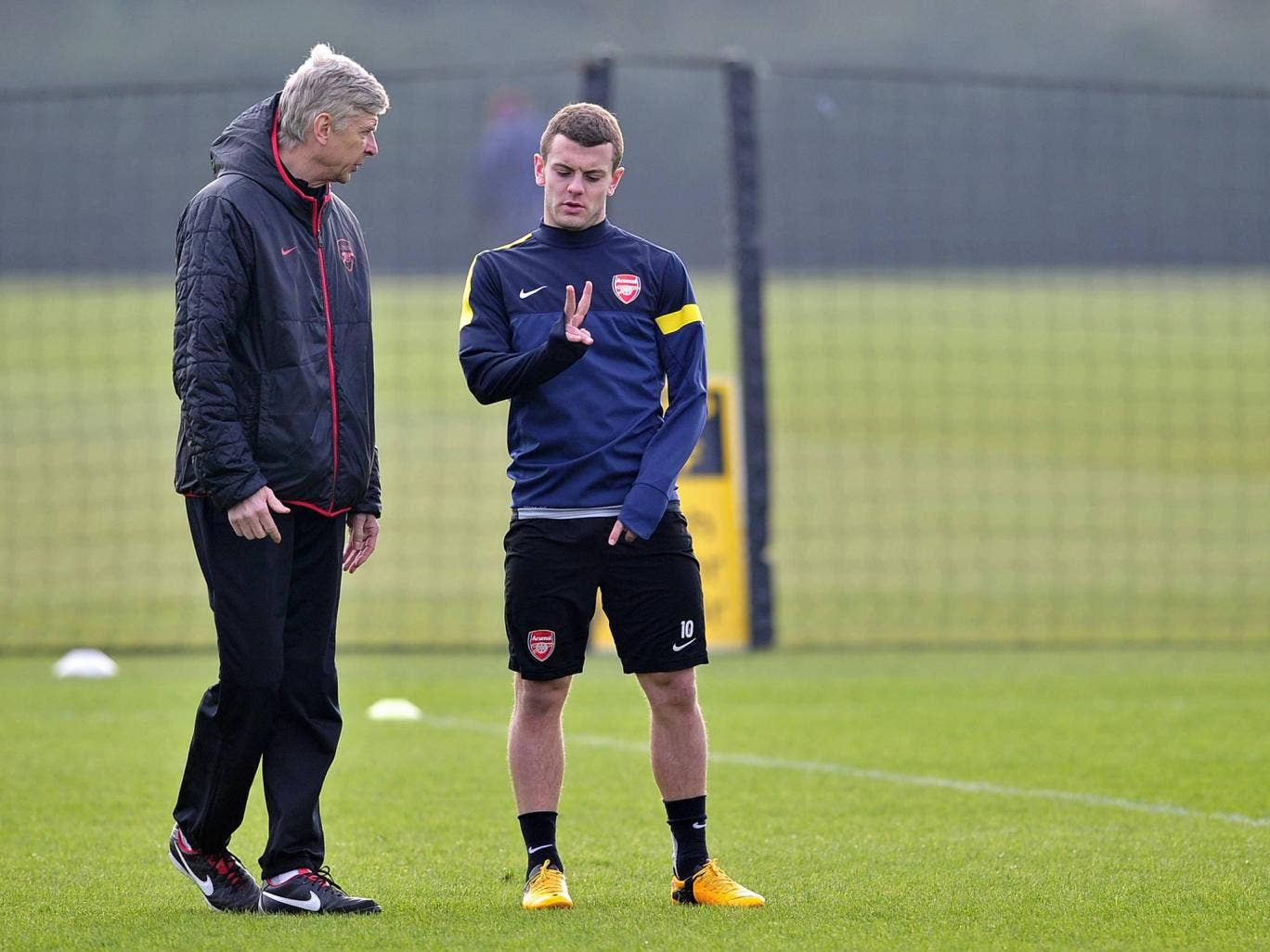 Arsene Wenger and Jack Wilshere pictured training for Arsenal