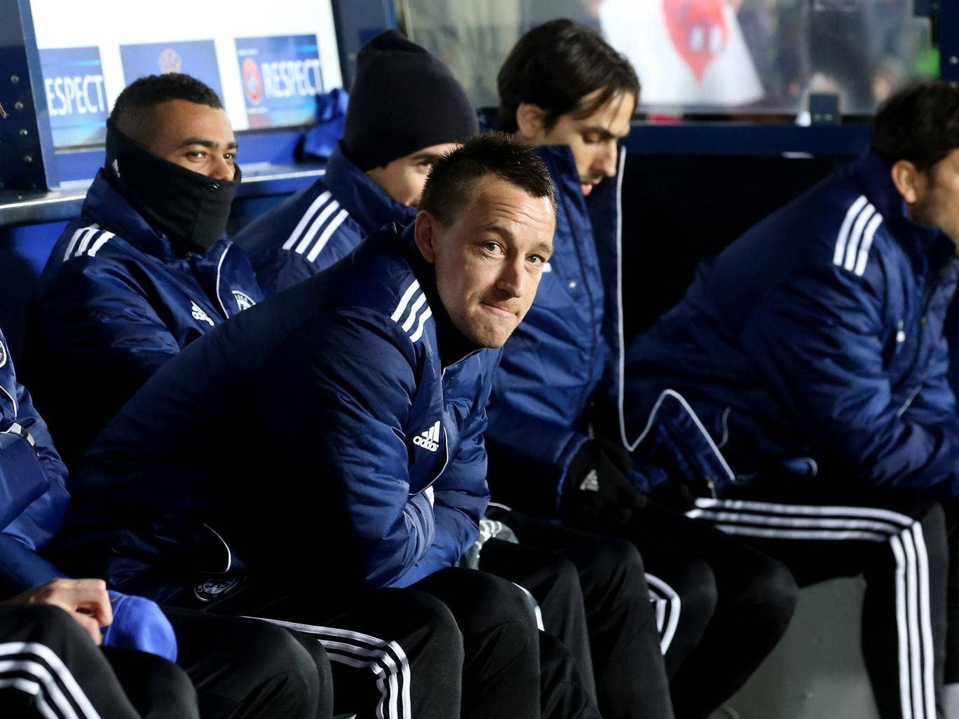 Chelsea captain John Terry on the bench