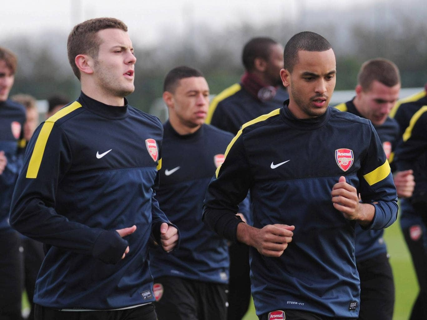 Jack Wilshere trains alongside Theo Walcott