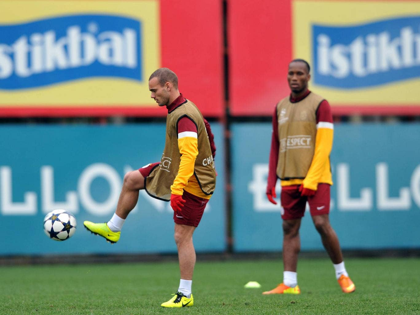 Galatasaray duo Wesley Sneijder and Didier Drogba