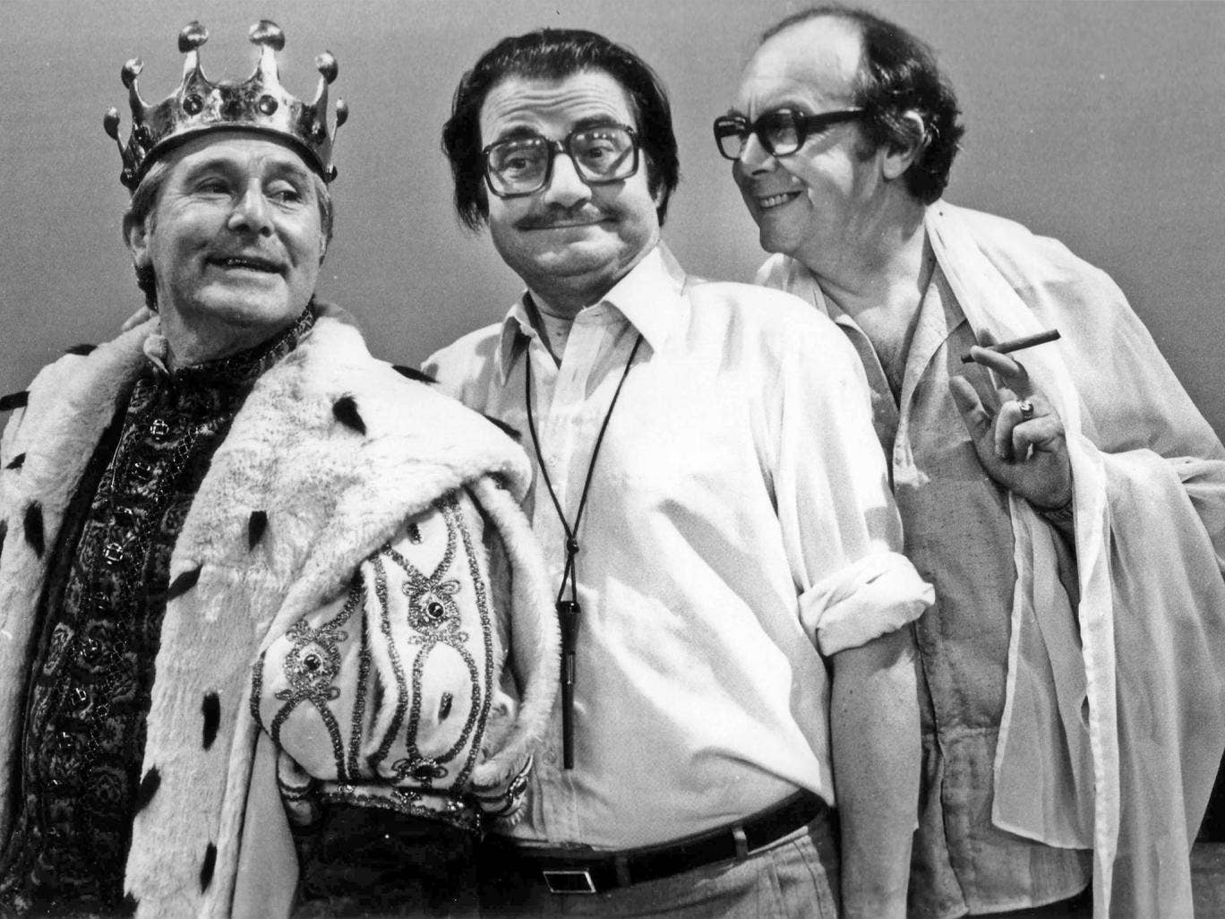 Ammonds (centre) on set with Ernie Wise and Eric Morecambe