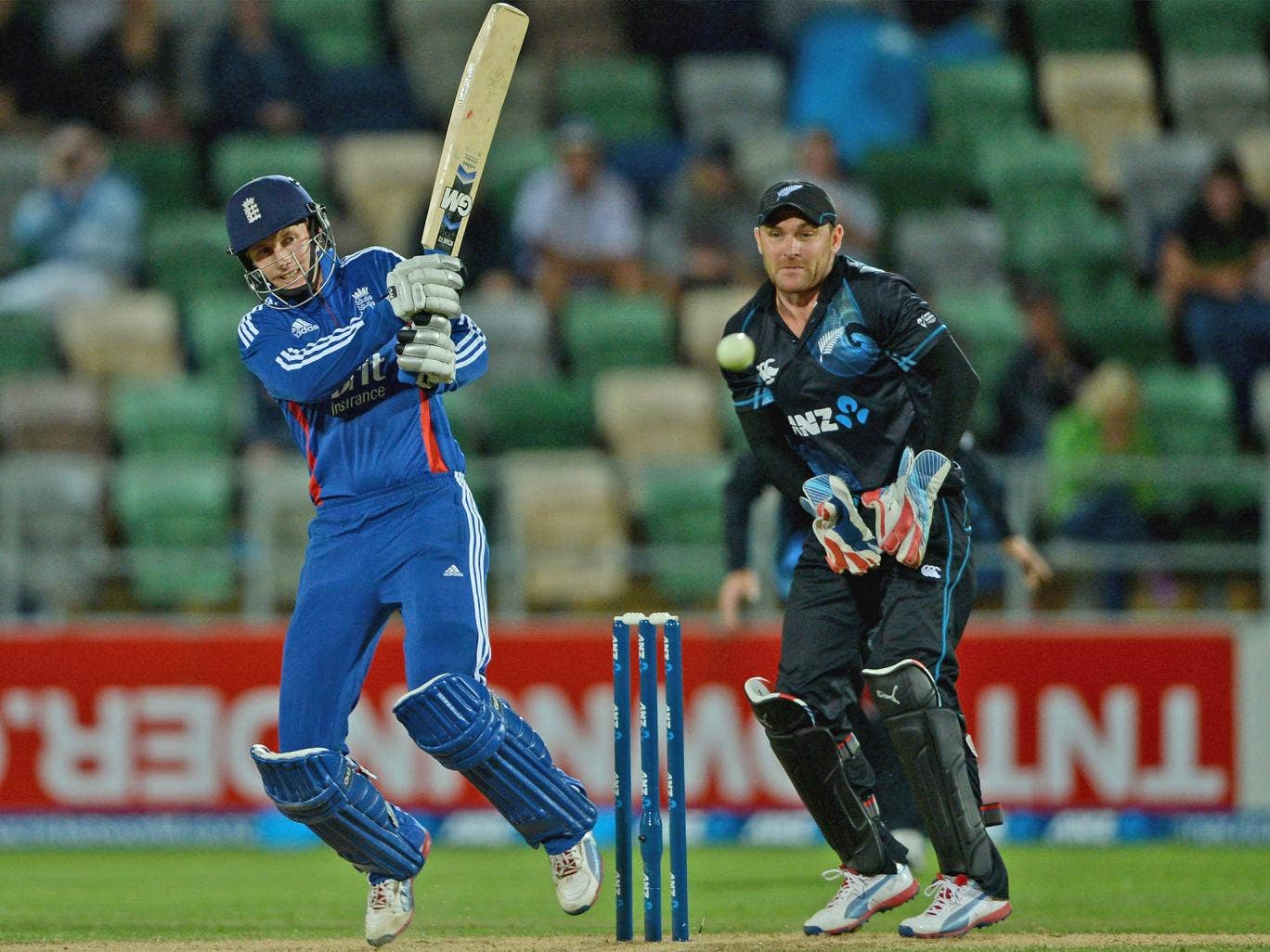 Joe Root hits out on his way to an unbeaten 79 in Napier