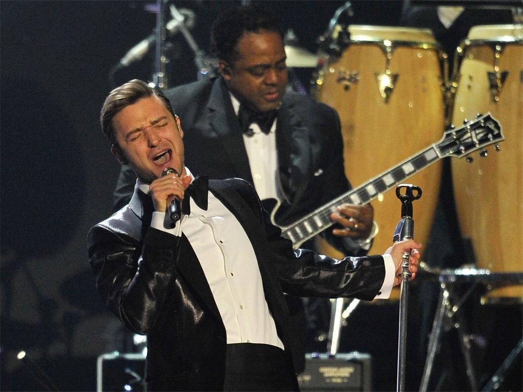 Justin Timberlake performs at the Brits