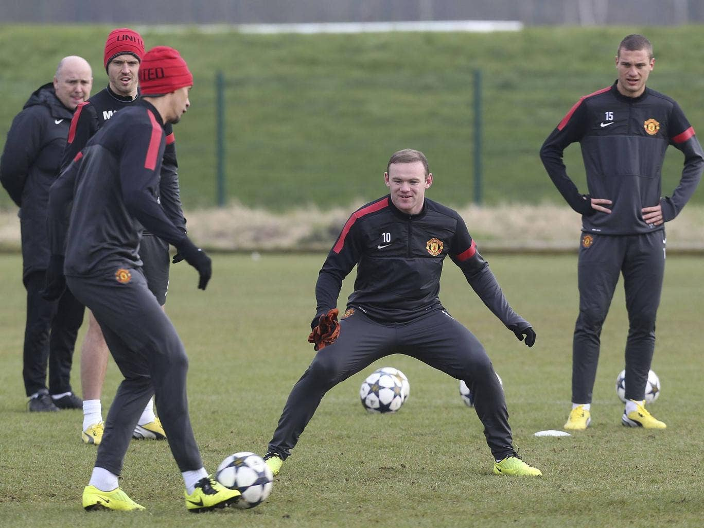 Wayne Rooney pictured training for Manchester United