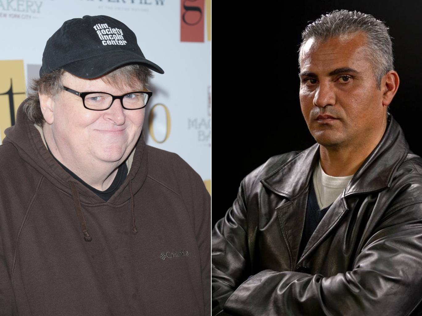 American filmmaker Michael Moore and Palestinian director Emad Burnat