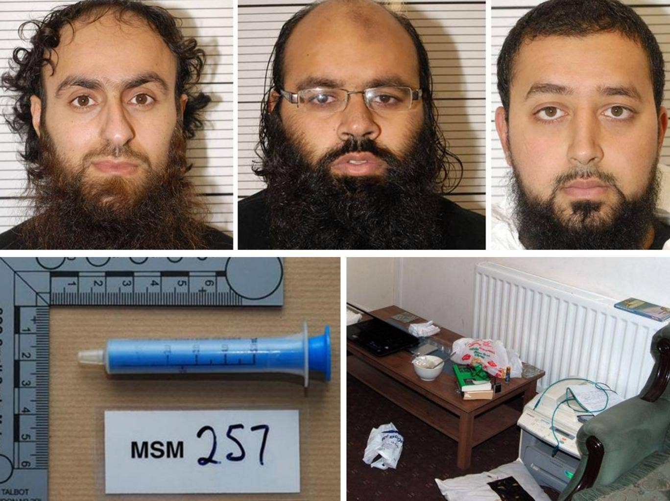 "Irfan Khalid (left), Irfan Naseer and Ashik Ali, all from Birmingham, who were found guilty at Woolwich Crown Court of being ""central figures"" in a terrorist bomb plot. Bottom left: a syringe found in the safe house in White Street, Birmingham. Bottom rig"