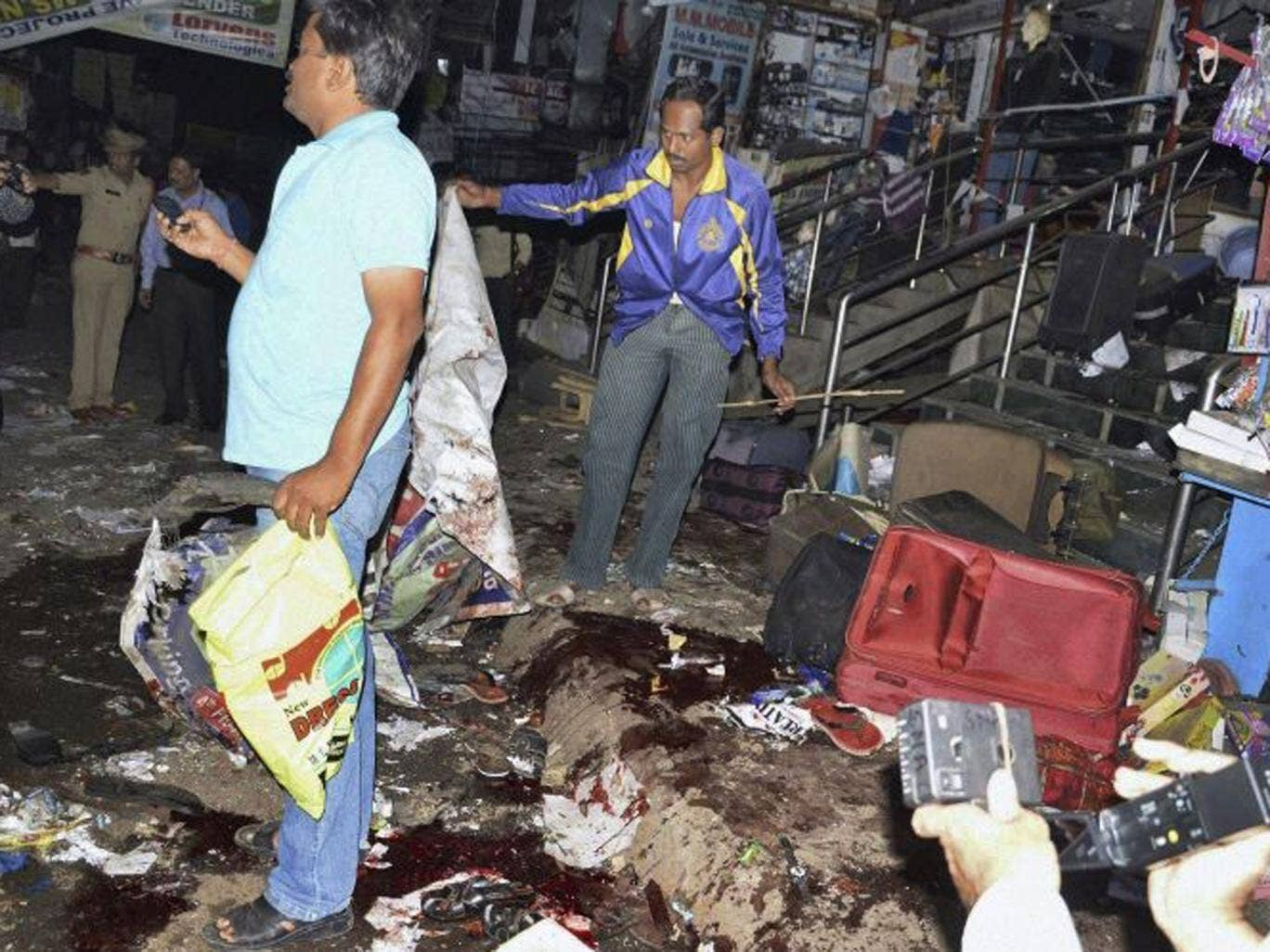 The scene of the blast at Dilsukhnagar in Hyderabad