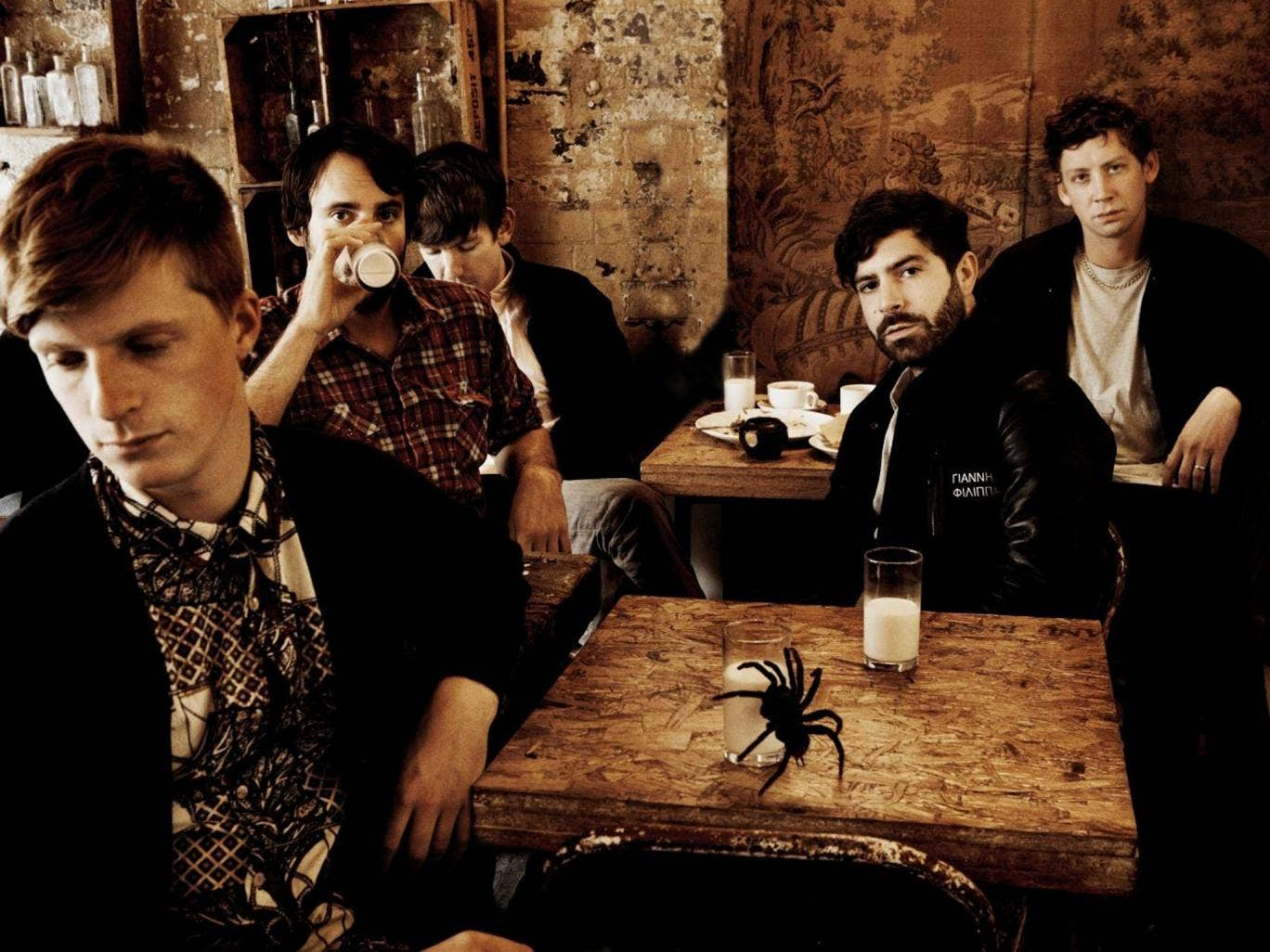 Café society: Jack Bevan, Jimmy Smith, Edwin Congreave, Yannis Philippakis and Walter Gervers of Foals