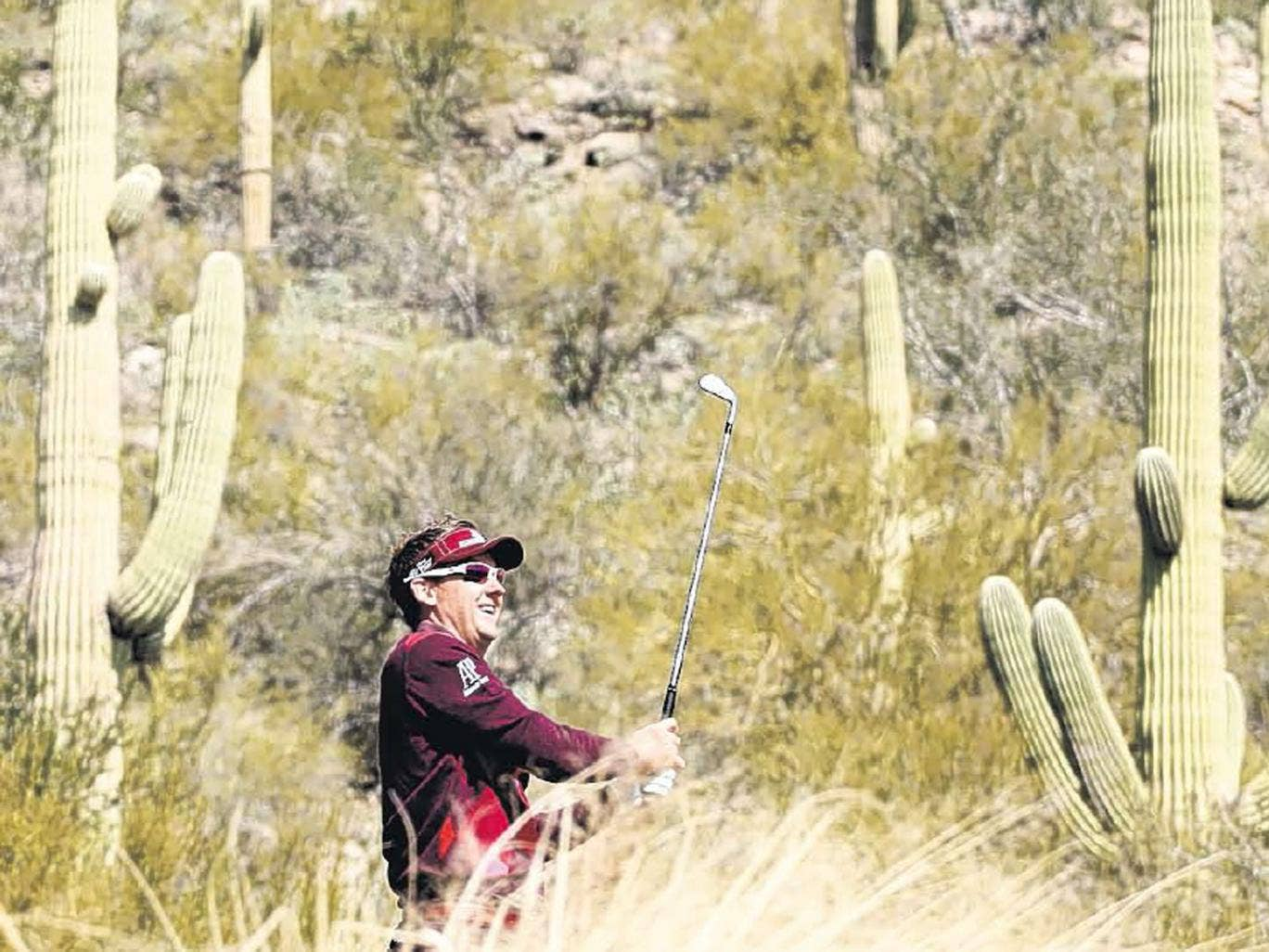 Wild west: Ian Poulter avoids the Arizona cactae with his tee shot on the 12th hole during his narrow second-round victory over American Bo Van Pelt