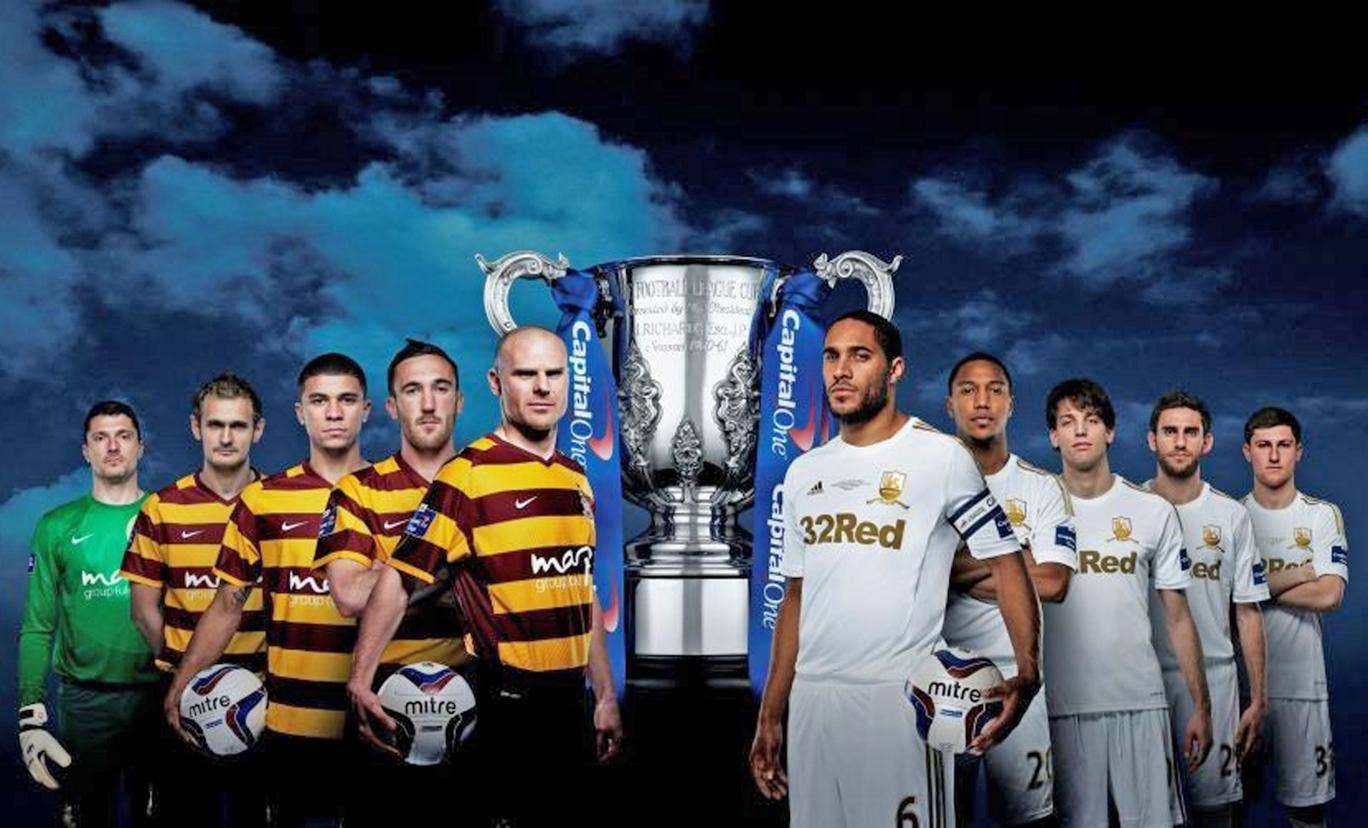No one predicted a Wembley showpiece between Bradford City, left, and Swansea, but today football is relishing the good-news stories they bring