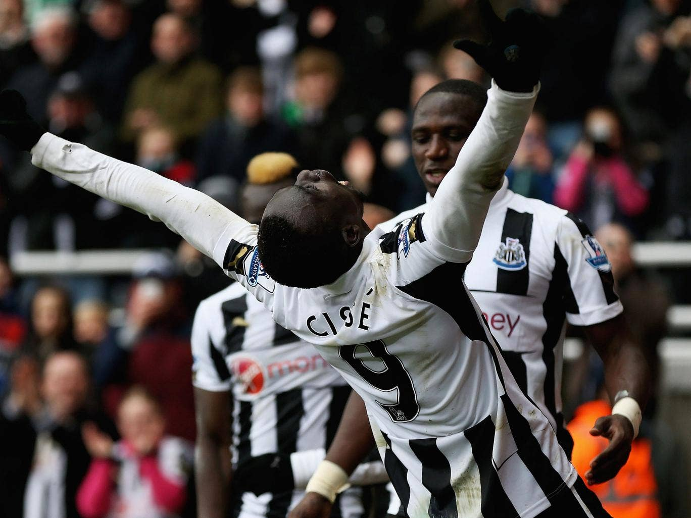 Papiss Cisse celebrates his goal for Newcastle
