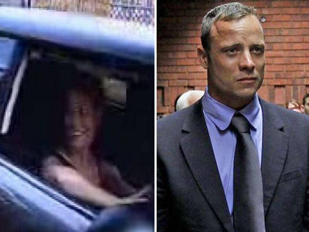 CCTV Grabs of Reeva Steenkamp arriving at Oscar Pistorius' home in Pretoria; Oscar Pistorius in court