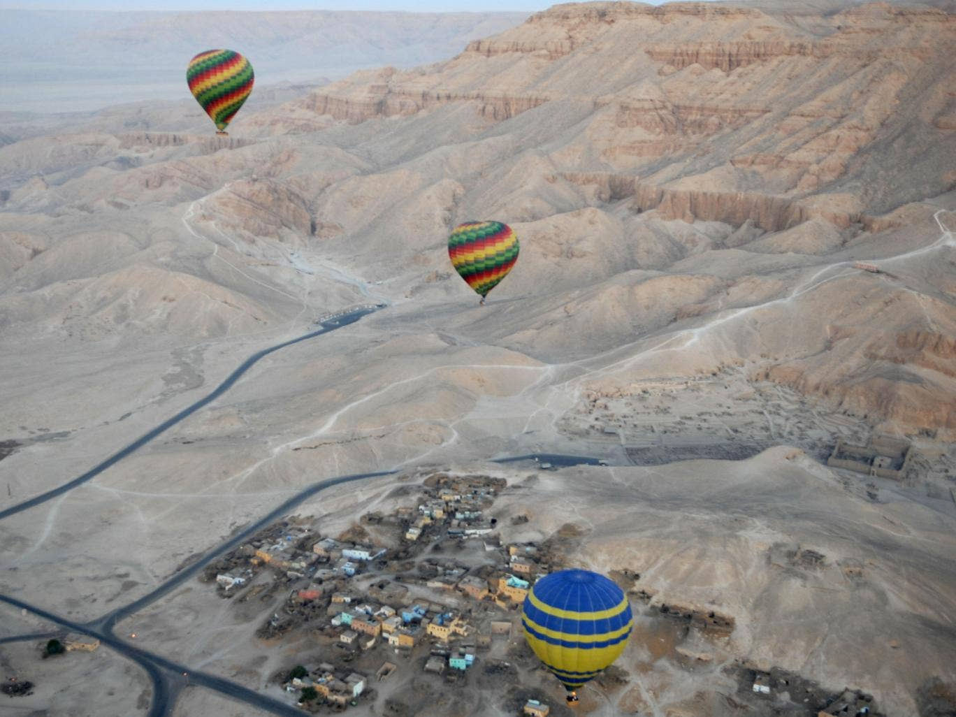 Hot air balloon trips, usually at sunrise over the Karnak and Luxor temples as well as the Valley of the Kings, are popular with British visitors to Egypt (File picture)