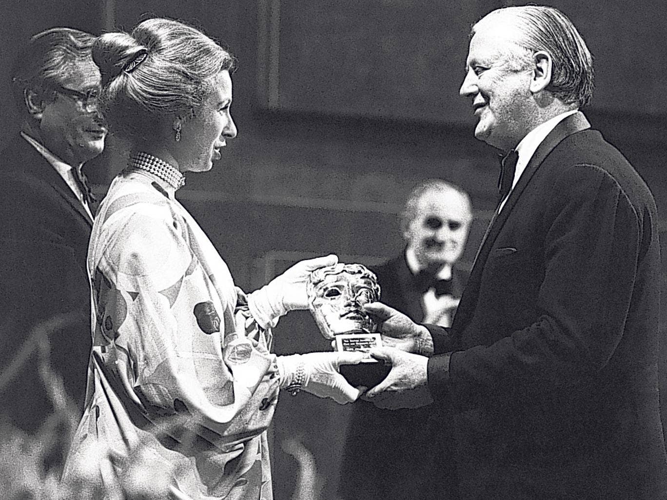 Forman receives the Bafta Fellowship in 1977 from Princess Anne; he was also a Fellow of the BFI