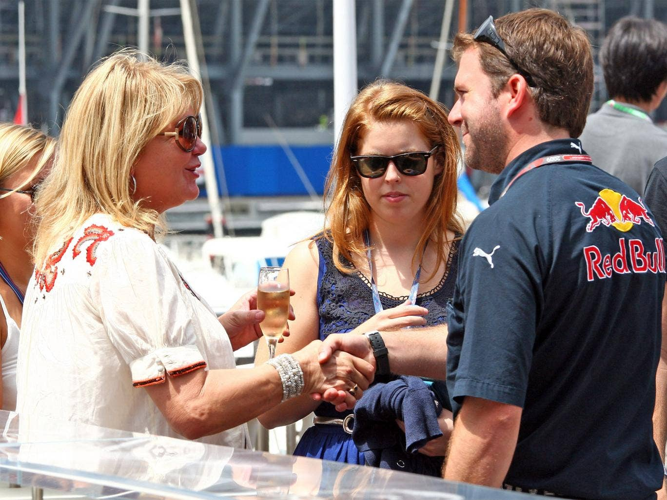 Princess Beatrice, centre, visits Red Bull's F1 team