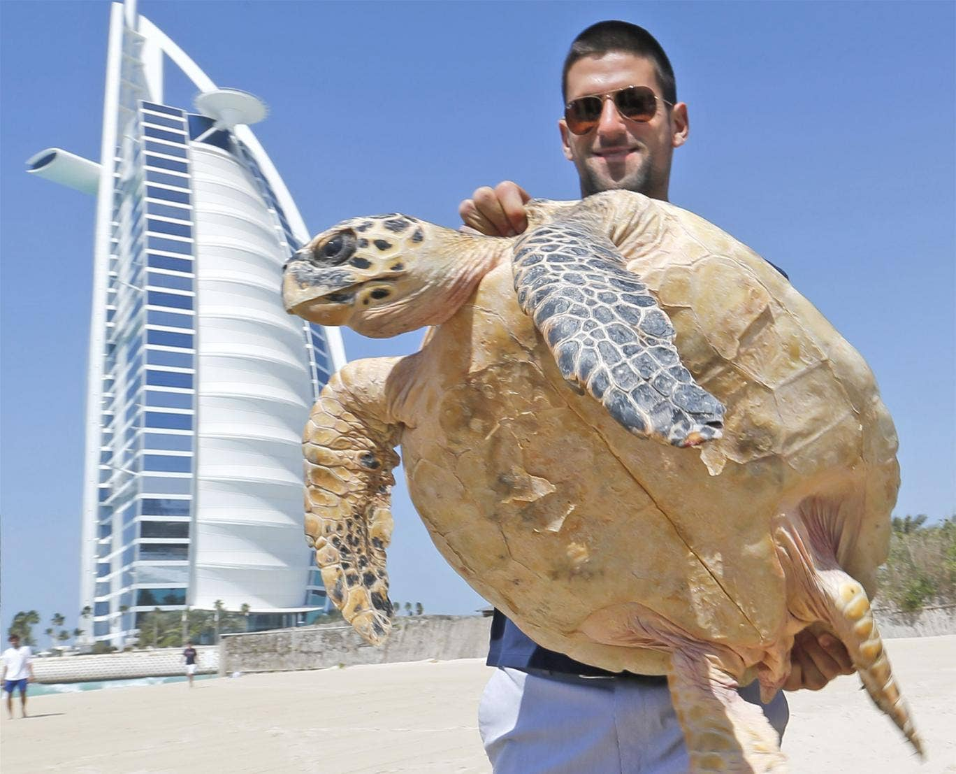 Relaxed Novak Djokovic poses with a hawksbill sea turtle in Dubai