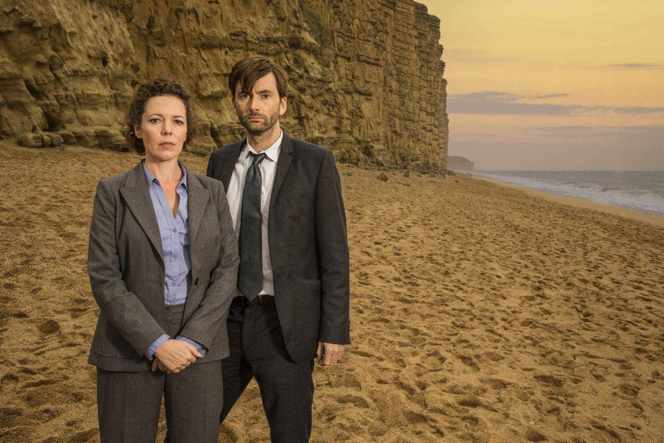 Colman in her new series, Broadchurch, with David Tennant