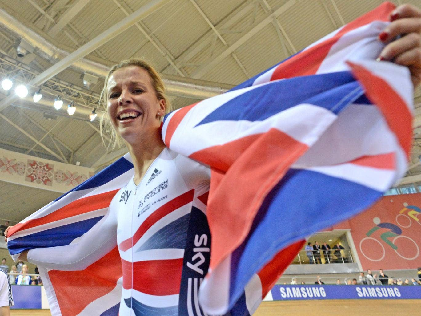 Becky James celebrates winning the keirin in Minsk