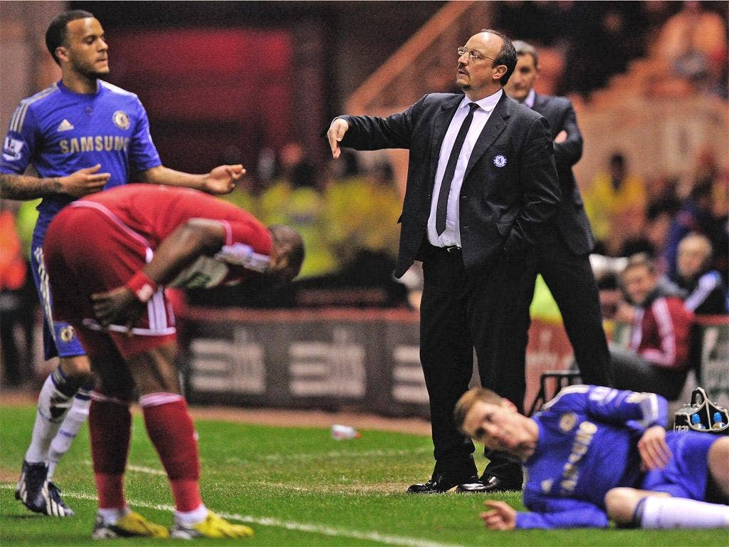 Rafael Benitez shouts instructions to his players last night