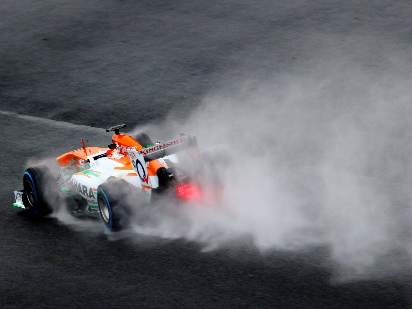 Adrian Sutil pictured testing for Force India in Barcelona