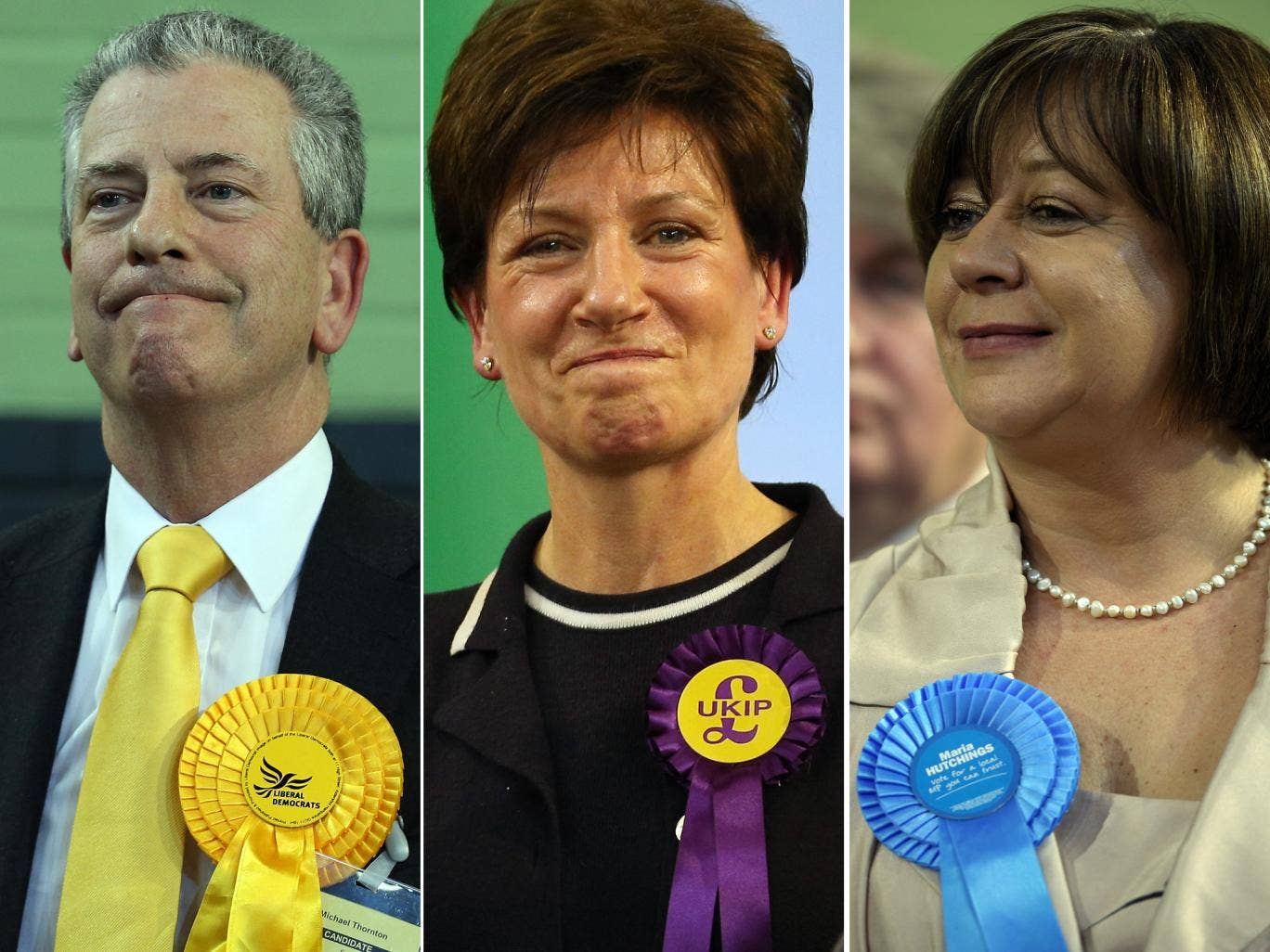 1, 2, 3: Liberal Democrat candidate Mike Thornton (left) celebrates his win at the Eastleigh by-election;  Ukip candidate Diana James celebrates beating the Conservatives; Conservative candidate Maria Hutchings listens to the declaration