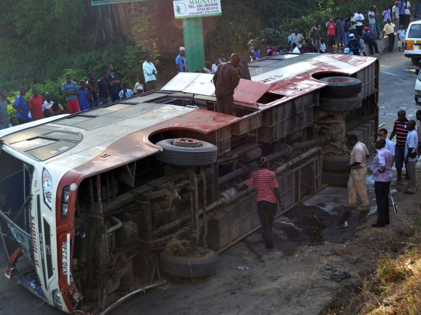 Up to 15 Britons have been hurt in a bus crash in Kenya