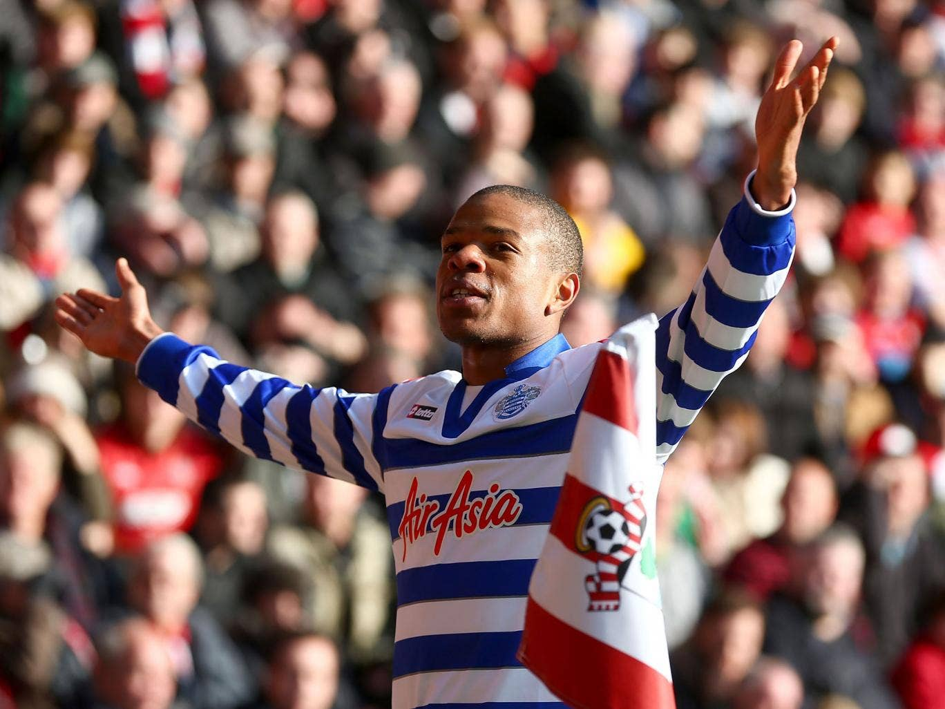 Loic Remy of Queens Park Rangers celebrates his goal