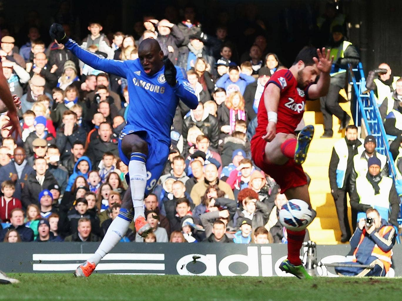 Demba Ba of Chelsea scores the opening goal