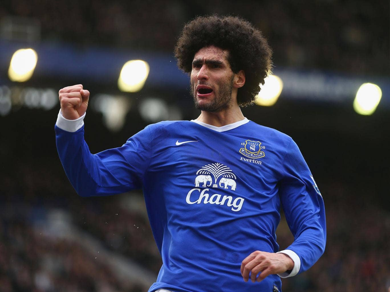 Marouane Fellaini of Everton celebrates his goal during
