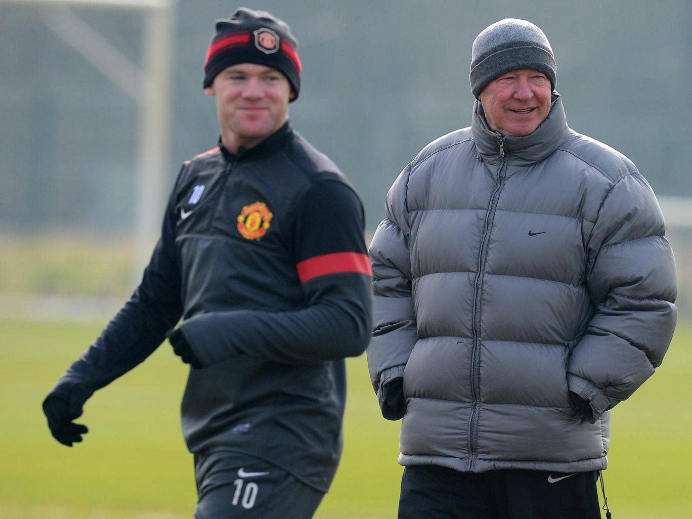Wayne Rooney and Alex Ferguson in training